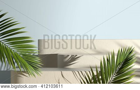 Modern Mockup Step Podium With Sunshade Palm Leaf Shadow Abstract Background 3d Render