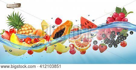 Fruit In Juice Splash Panorama. Pineapple, Strawberry, Raspberry, Blueberry, Blackberry, Orange, Gua