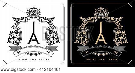 Ia Or Ai Royal Emblem With Crown, Initial Letter And Graphic Name Frames Border Of Floral Designs Wi