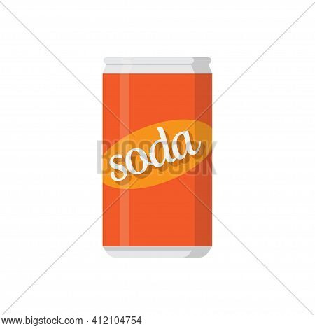 Soda Drink, Soda Can On White Background, Vector Illustration
