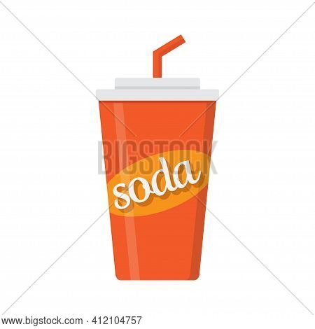 Soda Drink, Paper Soda Cup On White Background, Vector Illustration