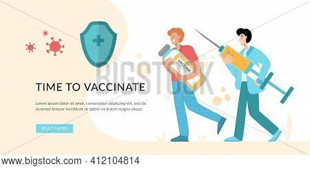 Medical Staff Take Care About People Immunity. Doctor Create Vaccination Schedule. Prevention Inject
