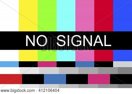 Retro Screensaver No Signal, Great Design For Any Purposes. Vector Background. Stock Image. Eps 10.