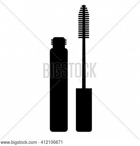 Mascara Icon On White Background. Mascara Brush Sign. Flat Style. Mascara Logo. Open Tube Of Mascara