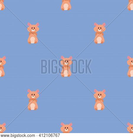 Seamless Vector Pattern With Hamsters On A Blue Background. Background For Textiles, Covers, Screens