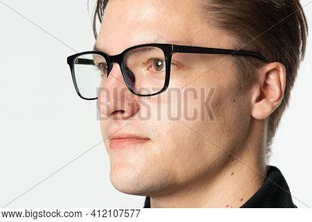 Man wearing AR smart glasses futuristic technology