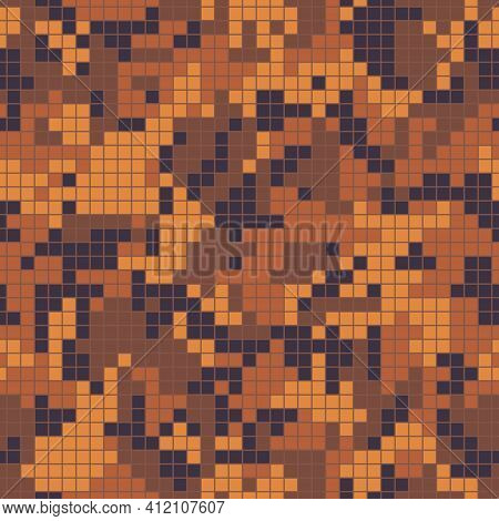 Digital Mosaic Camo, Seamless Pattern For Your Design. Bright Orange Coloring Camouflage, Modern Fab