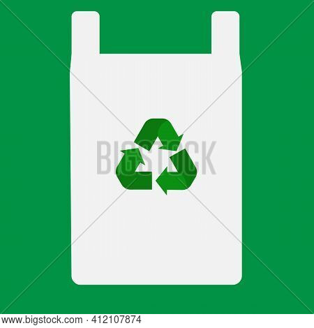 Plastic Bag With Recycle Sign. Cotton Bag With Recycle Symbol. Flat Style. Say No To Plastic Bags Co