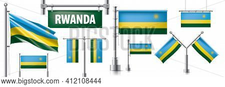 Vector Set Of The National Flag Of Rwanda In Various Creative Designs