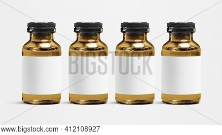 Blank white label on amber injection vial glass bottle