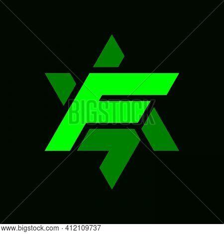 Initial Letter F Logo Template With Sporty Geometric Hexagram Illustration In Flat Design Monogram S