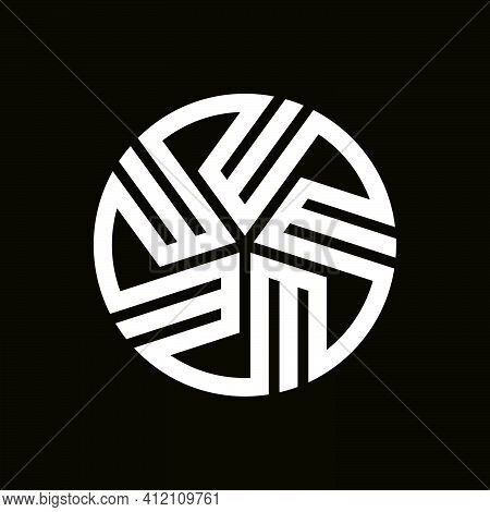 Initial Letter E, M Or W Logo Template With Sporty Geometric Japanase Kamon Illustration In Flat Des