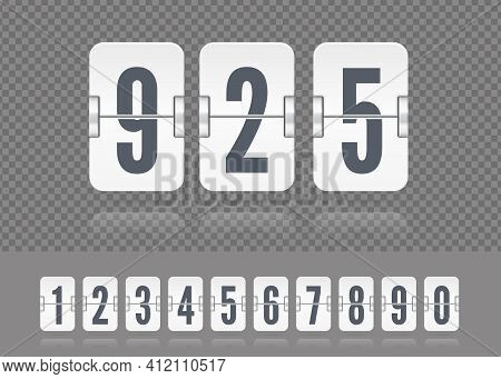 Vector White Scoreboard Numbers Floating With Reflections. Tamplate For Flip Countdown Timer Or Cale