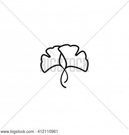 Cartoon Flat Black Ginkgo Biloba Leaves Isolated On White. Nature Eco Icon. Vector Illustration. Lea