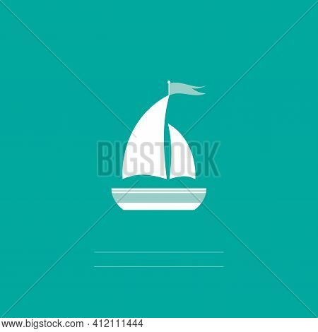 Flat White Boat With Two Sails And Little Waving Flag On The Top. Isolated On Aquamarine Background.