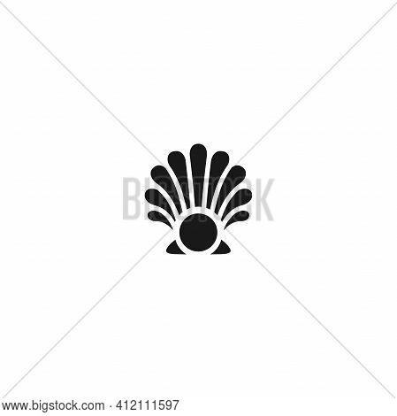 Sea Shell With Pearl Icon Isolated On White. Shellfish Illustration. Beauty And Luxury Spa Concept.