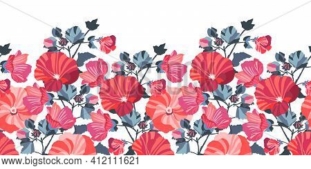 Vector Floral Seamless Pattern, Border. Red, Pink Mallow Flowers.