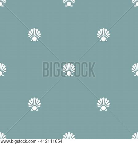 Seamless Pattern With Sea Shell And Pearl On Powder Blue Background. Shellfish Ornament. Beauty And