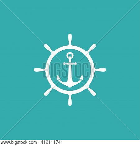 Nautical White Helm And Anchor Label Isolated On Blue. Ship And Boat Steering Wheel Sign. Rudder Lab