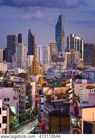 Top View Of Yaowarat Street Food Or China Town Thailand In Bangkok City