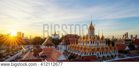 Golden Metal Castle Illuminated, Wat Ratchanatdaram Woravihara, Loha Prasat Temple In The Morning At