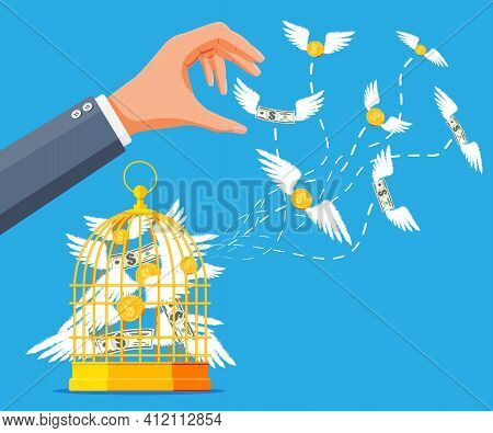 Businessman Hand Chasing Money And Cage. Dollar Banknotes And Gold Coins With Wings In Birdcage. Con