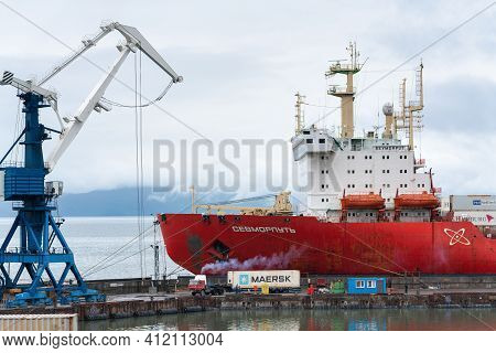 Sevmorput - Nuclear Container Ship Russian Corporation Fsue Atomflot. Container Terminal Commercial