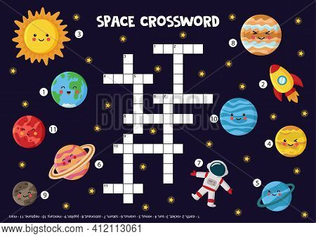 Space Crossword For Kids With Solar System Planets, Sun, Rocket.