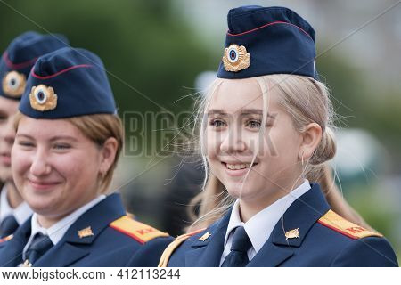 Cadets In Uniform Of Cadet Class Investigative Committee Of Russia During Solemn Event Dedicated To