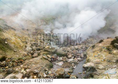 Breathtaking View Of Volcanic Landscape, Erupting Fumarole, Aggressive Hot Spring, Gas-steam Activit