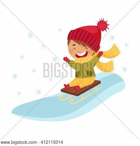 Happy Boy In Scarf And Knitted Hat Sledging Downhill Enjoying Winter Vector Illustration