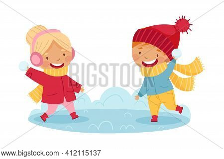 Happy Boy And Girl In Scarf And Knitted Hat Playing Snowball Fight Enjoying Winter Vector Illustrati