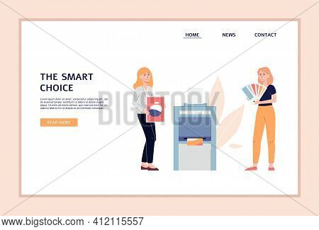 Printing Or Typography Website With Polygraphy Workers Flat Vector Illustration.