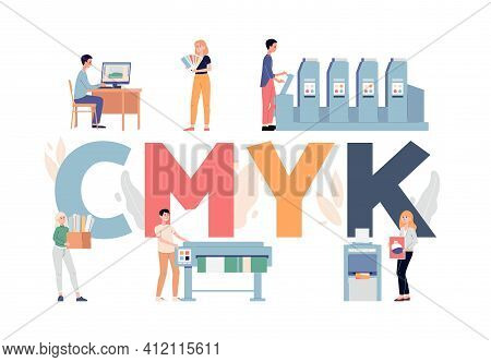 Vector Illustration With Concept Of Printing House Or Industrial Print Production