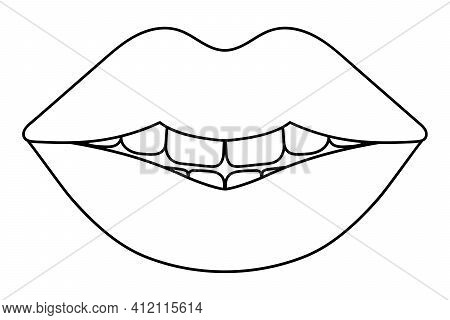 Plump Lips. Sketch. The Seductive Mouth Is Slightly Open. Vector Illustration. Coloring Book For Chi