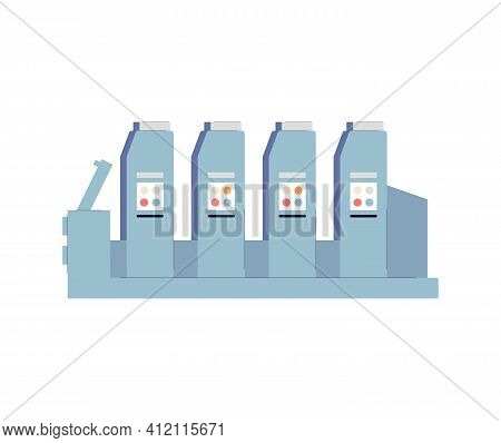 Printing Press For Printhouse Or Polygraphy Flat Vector Illustration Isolated.
