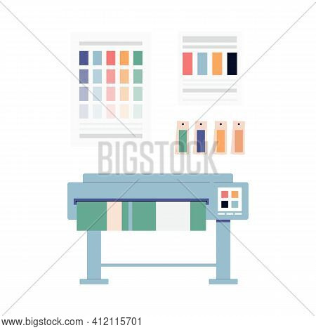 Offset Print Equipment For Polygraphy Flat Vector Illustration Isolated.