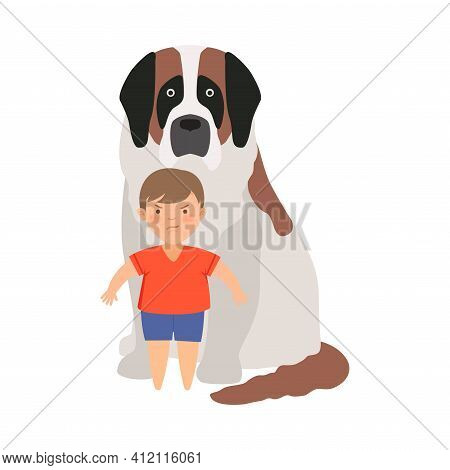 Little Brave Boy Protecting His Dog Pet From Hooligan Vector Illustration