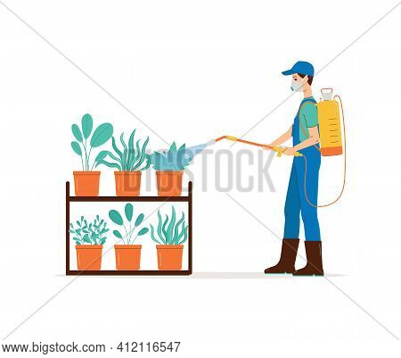 Male In Protective Mask Spraying Pesticide On Potted Plants A Vector Illustration