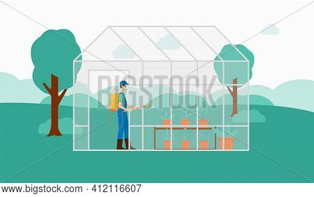 Farmer Spraying Pesticides On Plants In A Greenhouse Flat Vector Illustration.