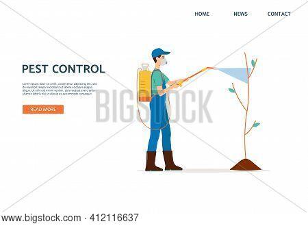 Pest Control Website With Worker Sprays Pesticides Flat Vector Illustration.