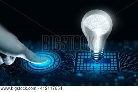 Protect Intellectual Property With Biometric Security. The Converging Point Of Circuit And Light Bul