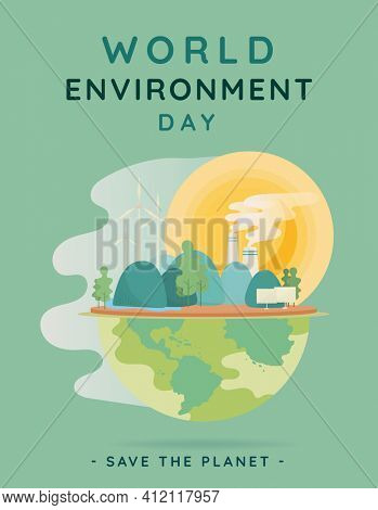 Save the planet poster for world environment day