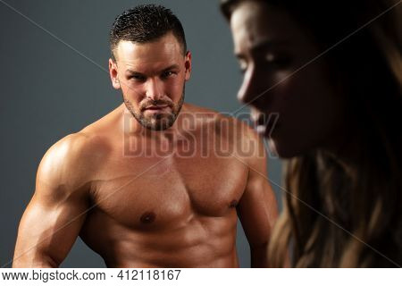 Treason Concept. Brutal Man With Sad Woman. Break Up, Divorce Or Treason In Relations Concept