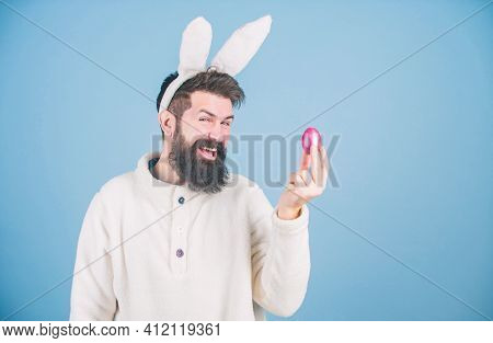 Hipster Cute Bunny Long Ears Blue Background. Easter Bunny. Having Fun. Funny Bunny With Beard And M