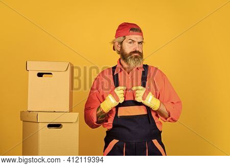 Future Profession. Moving House Day. Think Outside The Box. Express Delivery Concept. Man Worker In
