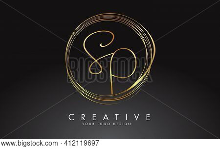 Handwritten Sp S P Golden Letters Logo With A Minimalist Design. Sp S P Icon With Circular Golden Ci