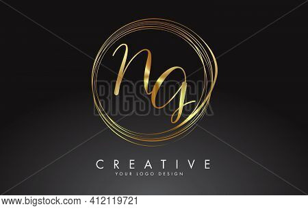 Handwritten Ng N G Golden Letters Logo With A Minimalist Design. Ng N G Icon With Circular Golden Ci