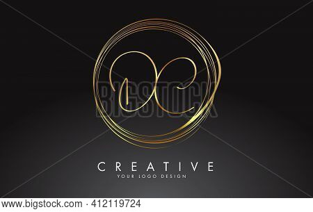 Handwritten Dc C C Golden Letters Logo With A Minimalist Design. Dc D C Icon With Circular Golden Ci