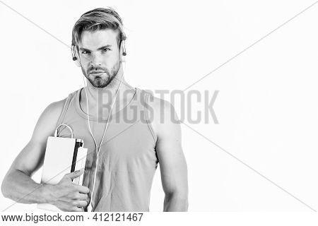 Man Use Modern Technologies Gadget. Guy With Headphones And Laptop. Student Life. Online Entertainme